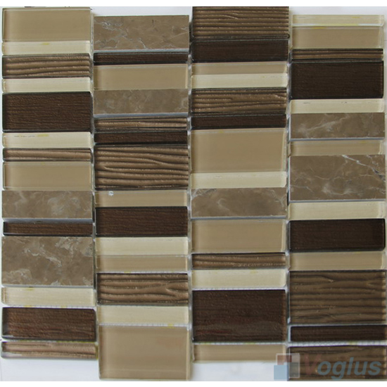 Coffee Brown Skyline Stream Tile Glass Stone Mosaic VB-GSV96