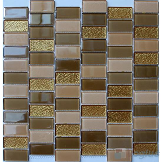 Golden 1x2 Interstream Crystal Glass Mosaic VG-CYW97