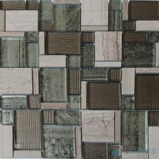 Grey Firo Magic Miscellaneous Glass Stone Mix Mosaic Tile VB-GST91