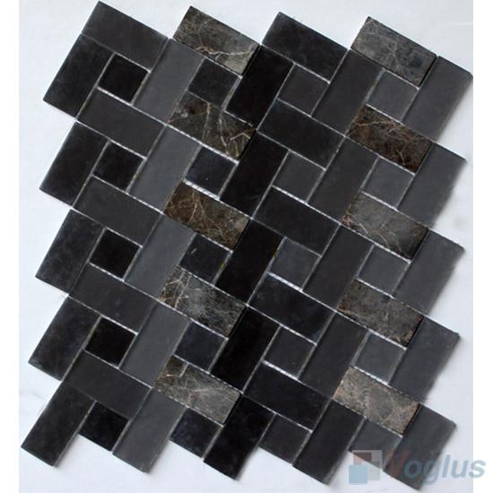 Grey Imperial Pinwheel Glass Tile Mix Stone Mosaic VB-GSW95