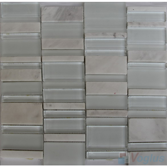 Ivory White Skyline Stream Tile Glass Stone Mosaic VB-GSV90