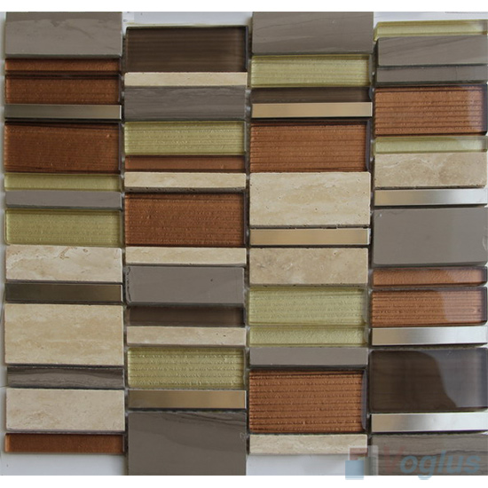 Rust Berlo Skyline Stream Tile Glass Stone Mosaic VB-GSV94