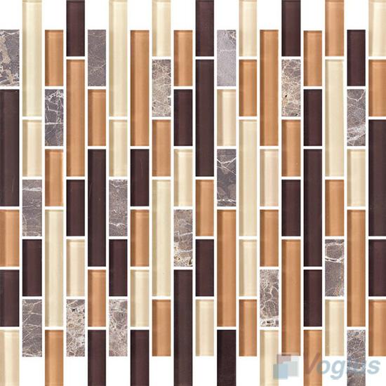 Strip Stone Glass Mosaic Tiles VB-GSN95