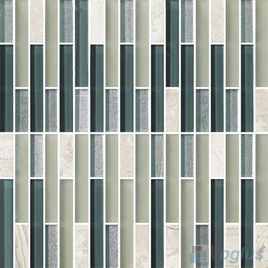 Strip Stone Glass Mosaic Tiles VB-GSN98