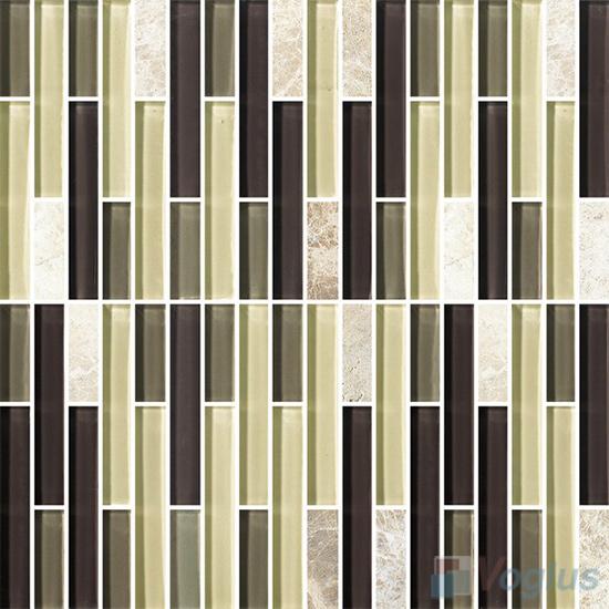 Strip Stone Glass Mosaic Tiles VB-GSN99