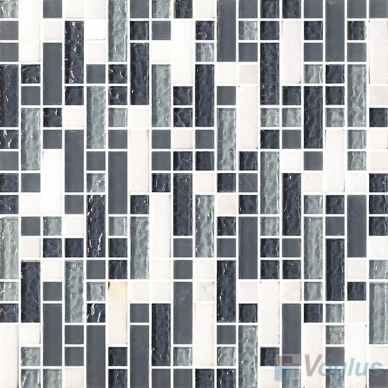 Stroke Glass Stone Mixed Mosaic Tiles VB-GSH85