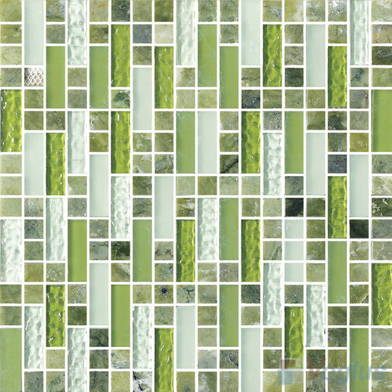 Stroke Glass Stone Mixed Mosaic Tiles VB-GSH90