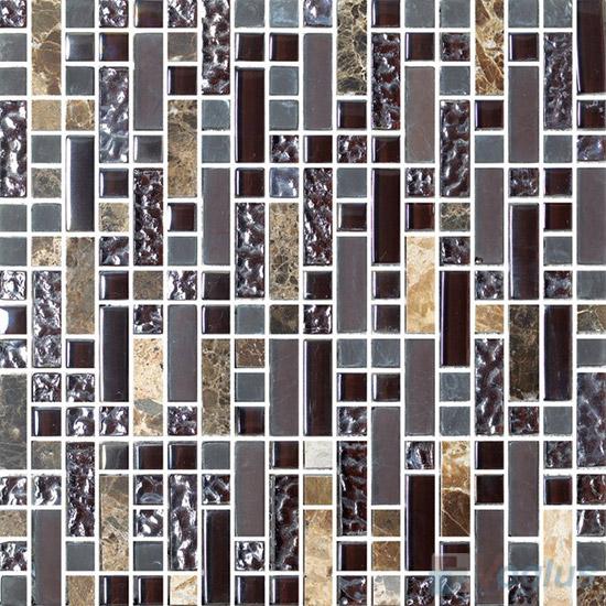 Stroke Glass Stone Mixed Mosaic Tiles VB-GSH91