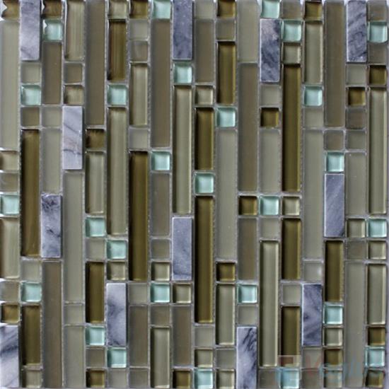 Stroke Glass Stone Mixed Mosaic Tiles VB-GSH95
