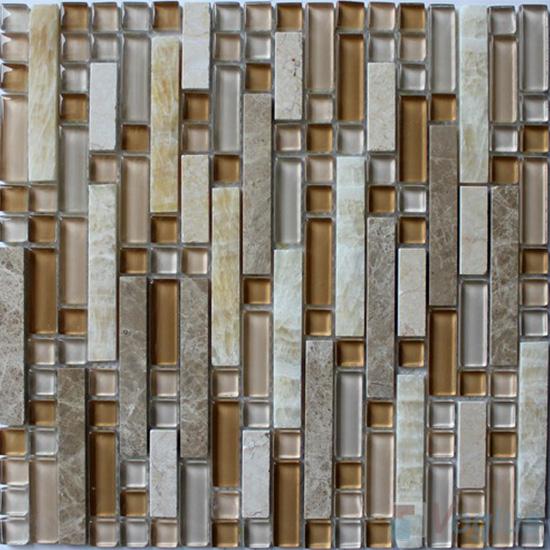 Stroke Glass Stone Mixed Mosaic Tiles VB-GSH96