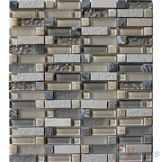 Stroke Glass Stone Mixed Mosaic Tiles VB-GSH99