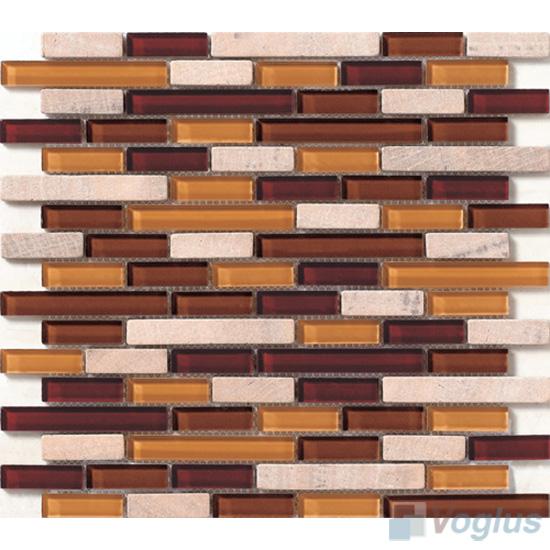Subway 15x48mm Glass Mix Stone Mosaic VB-GSC85
