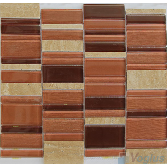 Terra Cotta Skyline Stream Tile Glass Stone Mosaic VB-GSV95