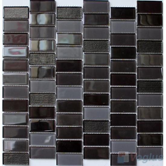 Titanium 1x2 Interstream Crystal Glass Mosaic VG-CYW92