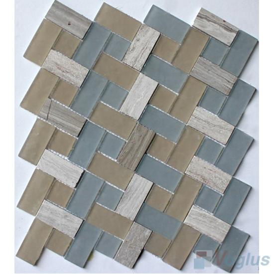 Vogue Plus Pinwheel Glass Tile Mix Stone Mosaic VB-GSW98