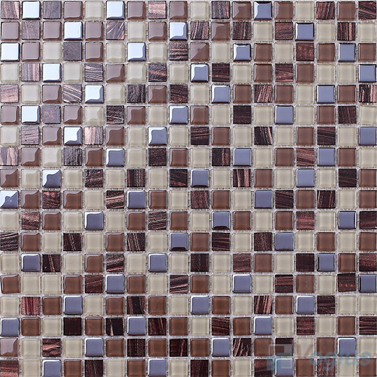 Chepsto 15x15mm Crystal Mixed Gold Line Glass Mosaic VG-CYP98