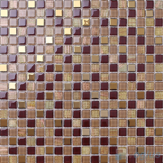Copper 15x15mm Crystal Mixed Gold Line Glass Mosaic VG-CYP91