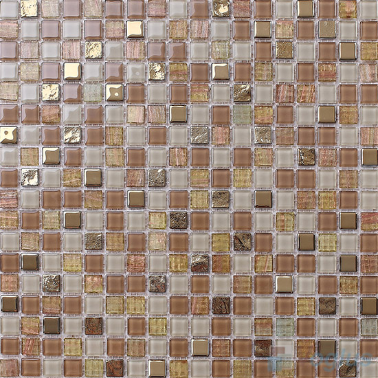 Desert 15x15mm Crystal Mixed Gold Line Glass Mosaic VG-CYP96