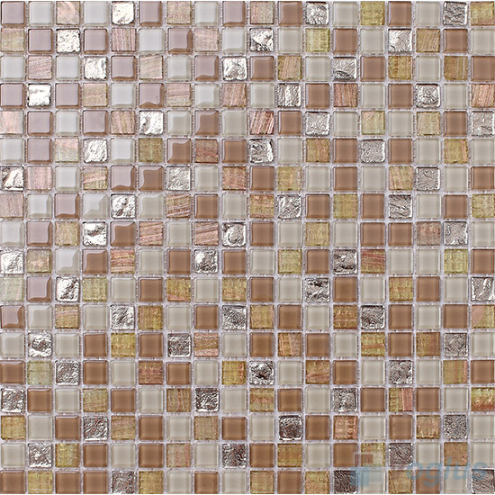 Earth 15x15mm Crystal Mixed Gold Line Glass Mosaic VG-CYP92
