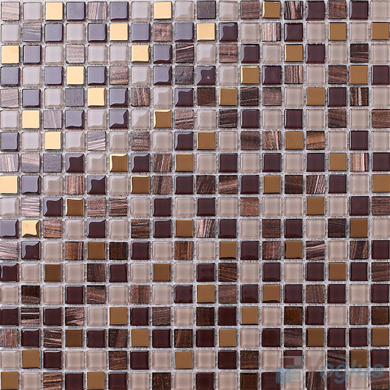 Fermir 15x15mm Crystal Mixed Gold Line Glass Mosaic VG-CYP99