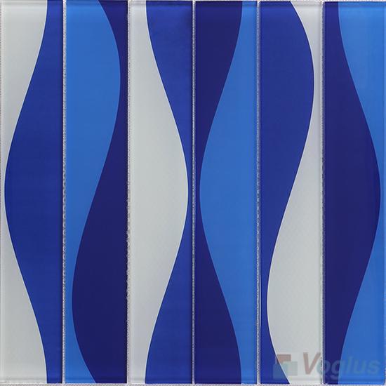 Hip Blue Back-printed Crystal Glass Tile VG-CYH91