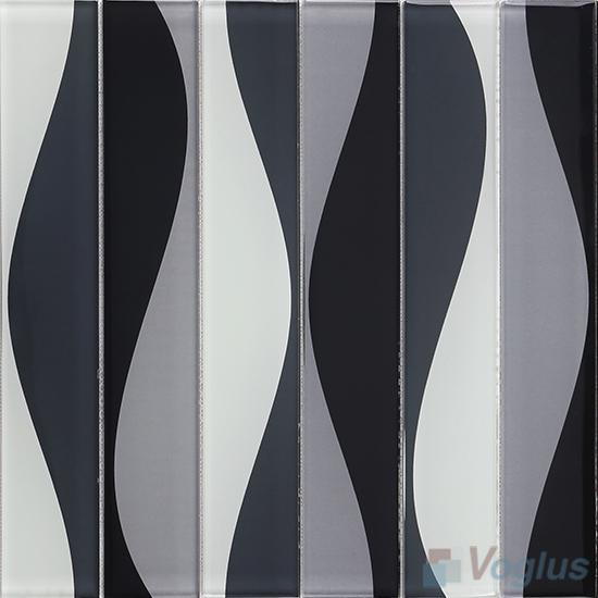Hip Gray Back-printed Crystal Glass Tile VG-CYH88