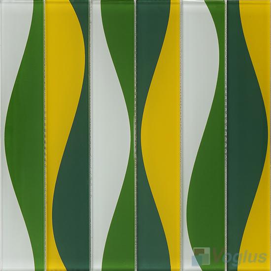 Hip Green Back-printed Crystal Glass Tile VG-CYH90