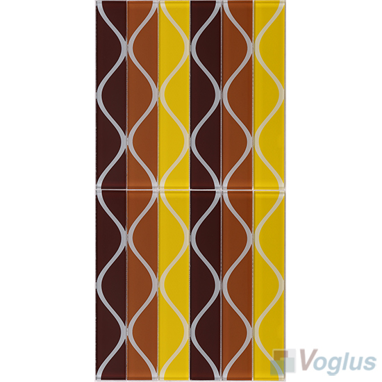 Liner Brown Back-printed Crystal Glass Tile VG-CYH85