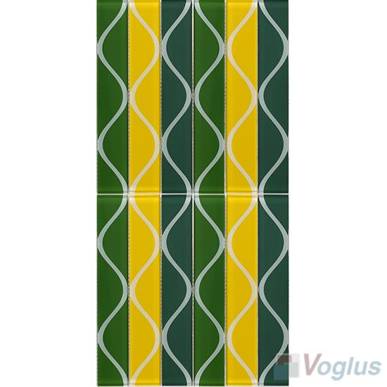 Liner Green Back-printed Crystal Glass Tile VG-CYH86