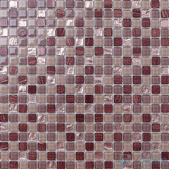 Mars 15x15mm Crystal Mixed Gold Line Glass Mosaic VG-CYP95