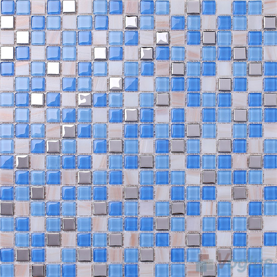 Ocean 15x15mm Crystal Mixed Gold Line Glass Mosaic VG-CYP94