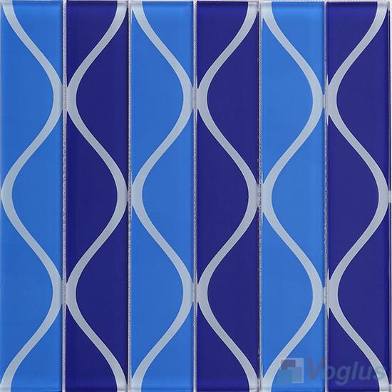 Vase Blue Back-printed Crystal Glass Tile VG-CYH95