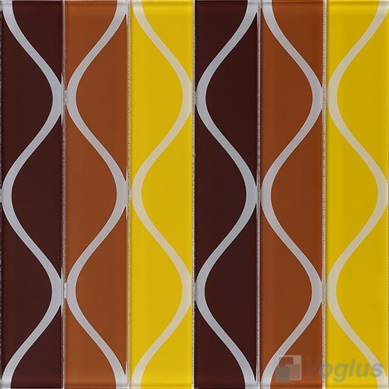 Vase Coffee Back-printed Crystal Glass Tile VG-CYH93