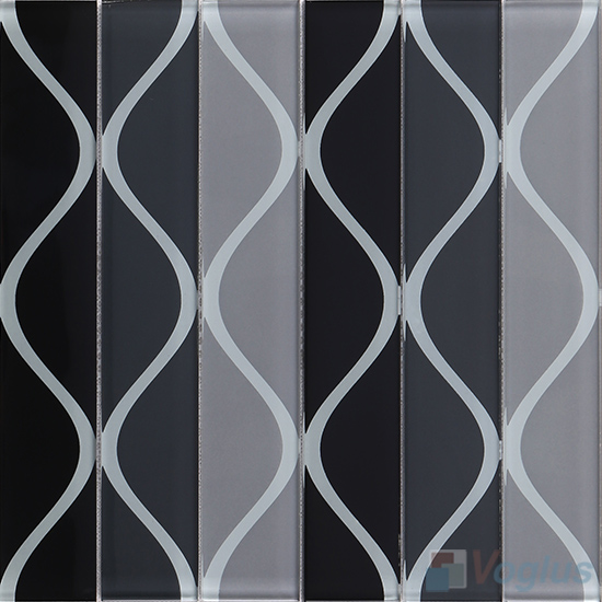 Vase Gray Back-printed Crystal Glass Tile VG-CYH92