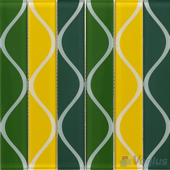 Vase Green Back-printed Crystal Glass Tile VG-CYH94