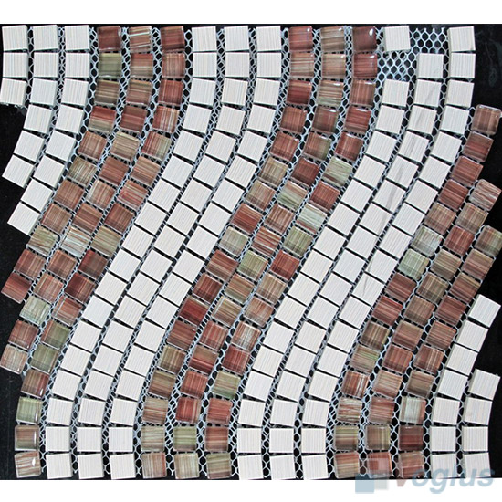 Aluminum Wavy Waist Line Glass Mosaic Tile VG-UWL94