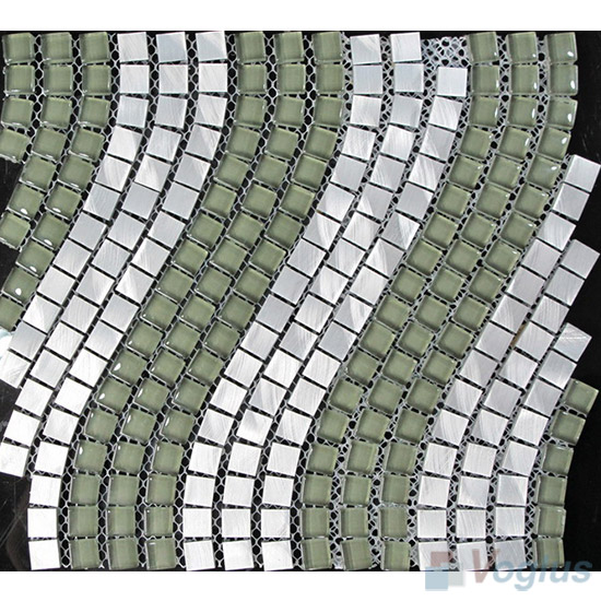 Aluminum Wavy Waist Line Glass Mosaic Tile VG-UWL95