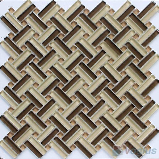 Beige Brown Herringbone Cross Weave Glass Mosaic VG-UCW99