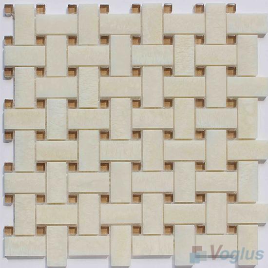 Beige Marble Basket Weave Glass Mosaic VG-UBW99