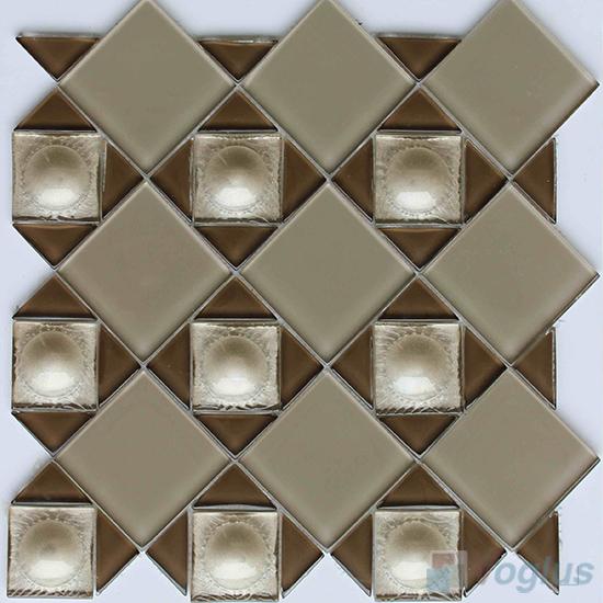 Beige Triangle Shape Mix Square Glass Mosaic VG-UTS97