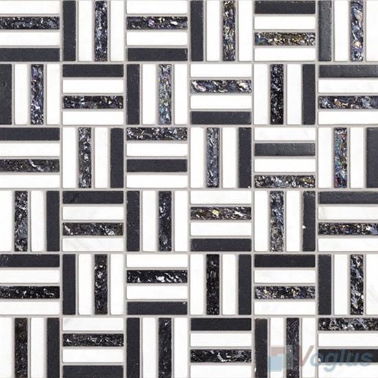 Black White Quartet Glass Stone Mosaic VB-GSJ91