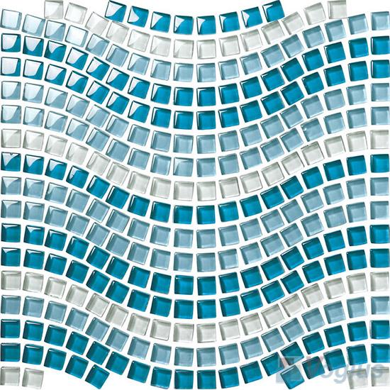 Blue Blend Wavy Waist Line Glass Mosaic Tile VG-UWL93