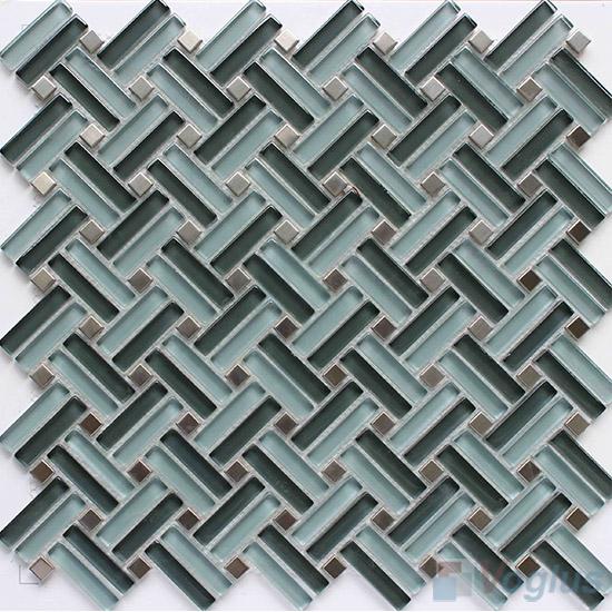 Blue-gray Herringbone Cross Weave Glass Mosaic VG-UCW98
