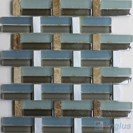 Blue Line Pistol Metal Stone Glass Mosaic VB-GSY99