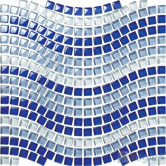 Blue Mixed Wavy Waist Line Glass Mosaic Tile VG-UWL92