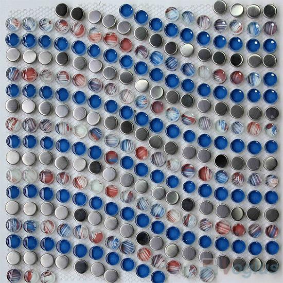 Blue Penny Wavy Waist Line Glass Mosaic Tile VG-UWL99