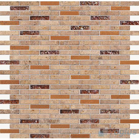 Brown Mini Brick Glass Stone Mosaic VB-GSJ87