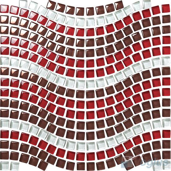 Brown Red Wavy Waist Line Glass Mosaic Tile VG-UWL90