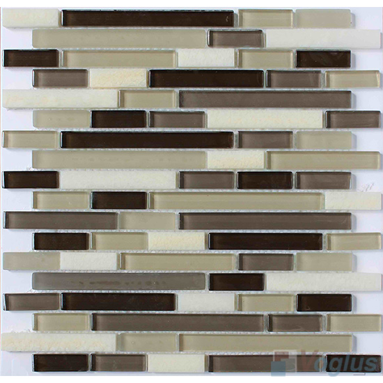 Brown Strip Stone Glass Tiles VB-GSN89