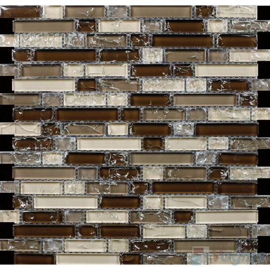 Browny Linear Ice Crackled Glass Tiles VG-CKL94